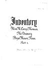 Inventory, Miss M. Carey Thomas, The Deanery, Bryn Mawr, Penn.